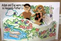 Adam & Eve stick puppets. This craft will help you prepare your Sunday school lesson on Genesis 2:1 - 3:24 on the Bible story of Adam and Eve.