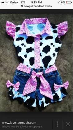 Items similar to Shorts and Blouse Beautiful PINK BANDANA upcycled cowgirl shorts outfit with custom made matching blouse. size - on Etsy Cow Birthday Parties, Baby Birthday, Rodeo Birthday, Birthday Ideas, Short Outfits, Kids Outfits, Cowgirl Party, Cowgirl Tutu, Cowgirl Outfits