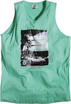 Débardeur allsize composé de 100 % Coton Coloris Vert Clair  Gros imprimé sur la poitrine  Allsize vous propose ce tee-shirt débardeur pour hommes forts dans les tailles L au 8 XL