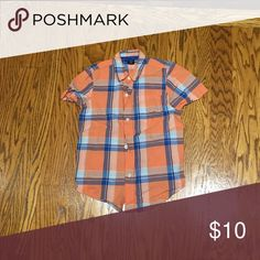 Boys gap kids plaid short sleev button down shirt Boys Gap kids orange and blue plaid button down shirt. XS(4-5) GAP Shirts & Tops Button Down Shirts