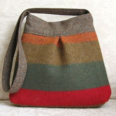 Autumn Stripe BELLA Handbag, Upcycled Wool Sweater Purse