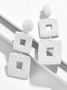 Seed Bead Earrings, Polymer Clay Earrings, Bridal Earrings, Beaded Earrings, Earrings Handmade, Seed Beads, Handmade Jewelry, Textile Jewelry, Fabric Jewelry