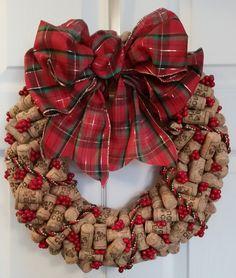 "15"" wine cork wreath, corks all the same and unused."