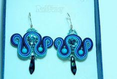 Swarovski earrings, soutache jewelry, gift for women, gift f Blue Earrings, Dangle Earrings, Gifts For Girls, Gifts For Women, Soutache Jewelry, Lovely Things, Jewelry Gifts, Dangles, Swarovski