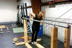 Wood parallel bars. No DIY plans or purchase options but this is a great shot to serve as a basis to design my own.