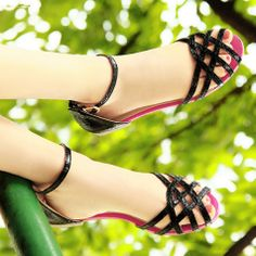 2014 women s PU Ankle Strap Staggered open-toed flat sandals Fashion woman  shoes Ladies Gladiator ee45aebf061c