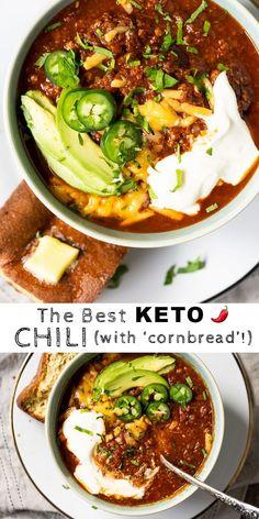 The Best Paleo & Keto Chili (with cornbread!) The Best Paleo & Keto Chili (with cornbread! Ketogenic Recipes, Paleo Recipes, Low Carb Recipes, Soup Recipes, Cooking Recipes, Dessert Recipes, Ketogenic Diet, Lean Recipes, Ketogenic Breakfast