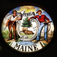 Maine Seal by Marc Tomik,  A farmer and a ship builder...do you think the Govn'r can take this down too?  After all, it is labor!
