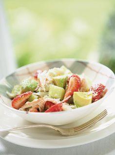 Recette de Ricardo de salade de crabe et de fraises au citron vert