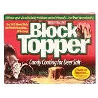 3 PACK BLOCK TOPPER DEER ATTRACTANT, Size: 4 POUND, Restricted States: NY (Catalog Category: Wildlife: Deer :ATTRACTANTS & FOODPLOT SUPP.) by EVOLVED. $42.67. An easy to use two part attractant that reacts instantly up to 50 pounds of salt or minerals--foaming the mineral. Once coated, minerals are a very desirable, beneficial treat deer can t resist. To bring the wary bucks in. Create an eruption. Deer will consume 50 lbs of minerals in just weeks. Fruity molasses miner...