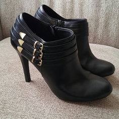 Black Booties Super cute black booties. Wore only a couple times. FIONI Clothing Shoes Ankle Boots & Booties