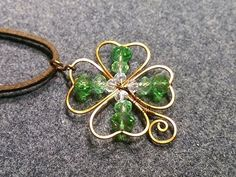 4 leaves grass - Clovers pendant - How to make wire jewelery 168