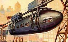 "N ov 1923 Popular Science Cover Illustration ""Monorail"" (Illustrator Unknown) Science Fiction Art, Pulp Fiction, Steampunk, Arte Nerd, Science Magazine, World Of Tomorrow, Classic Sci Fi, Retro Futuristic, Wow Art"