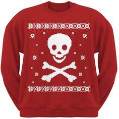 Big Skull & Crossbones Ugly Christmas Sweater Red Adult Crew Neck Sweatshirt | OldGlory.com