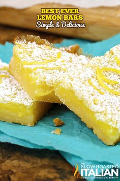 Easy Lemon Bars are bright and vibrant, and utterly delicious. The creamy texture and lemony flavor makes these a crowd favorite! Easy prep, easy cleanup and gone in a snap. My perfect ANYTIME bars. Truly the best lemon bars ever! Lemon Dessert Recipes, Lemon Recipes, Desert Recipes, Easy Desserts, Baking Recipes, Delicious Desserts, Yummy Food, Health Desserts, Bread Recipes