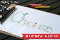 Such a simple, colorful way to help kids learn to write their names. {Playdough to Plato}