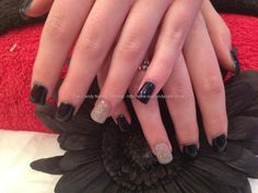 Full set of acrylic nails with midnight satin n silver gel polish