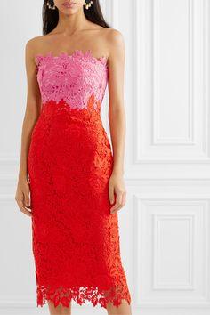 Lela Rose - Strapless two-tone guipure lace midi dress Strapless Dress Formal, Formal Dresses, Lela Rose, Summer Events, Lace Midi Dress, Beautiful Outfits, Bodice, Virtual Closet, Boards