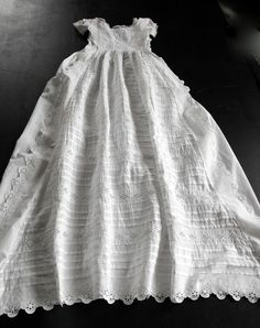 Vintage English Christening Gown with by Vintagefrenchlinens, $125.00