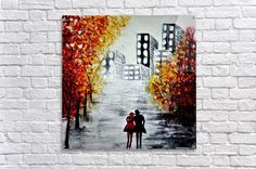 """Love in the city Acrylic Print. Love in the city - Original abstract cityscape painting. Modern textured pallet knife acrylic on canvas painting, Ready to hang wall artwork. Love in the city. SIZE: 50x50 cm / 20""""x20"""". #art #painting #abstract #acrylic #modern #original #wall #decor #gift #cityscape #landscape #palletknife #couple #redpainting #black&white Painting Abstract, Stretched Canvas Prints, Canvas Artwork, Wall Art Decor, Pallet, Pop Art, Art Gallery, Black White, Inspire"""