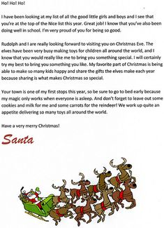 Free Printable Letters From Santa  His Elves