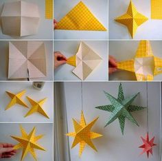 Door Decor Christmas Stars Made from Printed Paper