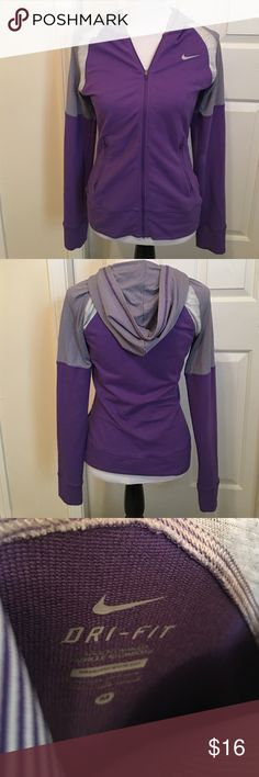 💜Women's Nike Tennis 🎾 Zip Up Hoodie💜Medium Beautiful Purple & Gray Women's Tennis Jacket / Full Zip Up Hoodie. Nike Dri Fit, Size Medium. Perfect condition; EXCEPT for what can be viewed in last photo :(. Some kind of fading has occurred but really not too noticeable & priced accordingly. It's on the under side of the sleeve. Bundle & Save even More!💜💕🎁🛍💜 Nike Tops Sweatshirts & Hoodies