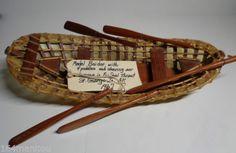 Alaskan Antique Ethnographic 60s 20x6 Umiak Inuit Eskimo Skin Boat W 7 Oars