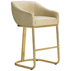 The bar stool is offered exclusively in Mercer - a soft ivory leather, which beautifully complements its brass-plated stainless steel base. Details: - Collection: Take Five - Mercer - a soft ivory lea