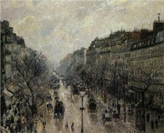 Boulevard Montmartre Foggy Morning - Camille Pissarro