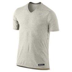 7b0b5a1e Nike Tailwind V-Neck T-Shirt - Men's - Running - Clothing - Black  Heather/Electrolime/Reflective Silver