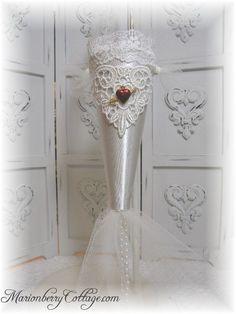 Victorian Tussie Mussie CORONET Diamond white Slipper satin
