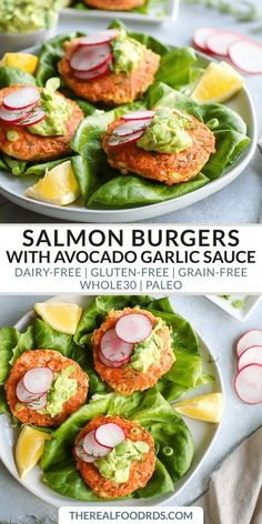 Salmon Burgers With Avocado Garlic Sauce Whole 30 Dinner Paleo Salmon Cakes Gluten-Free Dinner Recipe Healthy Salmon Cakes Easy Dinner Recipe Delicious Salmon Cake Recipe The Real Food Dietitians Gluten Free Recipes For Dinner, Healthy Dinner Recipes, Indian Food Recipes, Beef Recipes, Soup Recipes, Vegetarian Recipes, Easy Recipes, Chicken Recipes, Healthy Meals