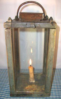 19th C Treen Barn Lantern In Old Blue