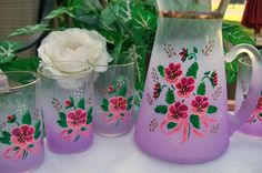Vintage Mid-Century West Virginia Lavender/Purple BLENDO GLASS w/Floral Pattern Beverage Pitcher and 6  Small Juice Glasses