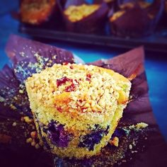 Jo's Blue AGA: Blueberry Muffins with a nutty topping