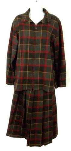 174931581 PENDLETON Multi Color Plaid Virgin Wool Blazer Pleated Skirt Suit Womens 14