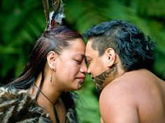 The Maori greeting and custom of touching foreheads and noses together allowing one to share the same breath is called the Hongi. It is a way of seeing each other on a soul level, seeing each other as equal. New Zealand. Photograph by Frans Lemmens.