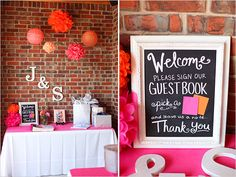 Spring has Definately Sprung!!!  Loving this Spring Inspired Guest Book sign in table. We are addicted to the #Chalkboard signs and  hanging #pompoms! Let S.H.E. Event Planning inspire your next event :)