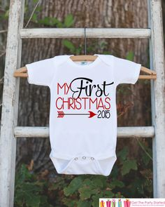 My First Christmas Outfit - 2015 Christmas Onepiece - Baby's First Christmas Arrow for Baby Boy or Baby Girl - My 1st Christmas Outfit on Etsy, $18.00