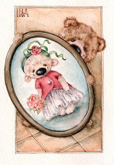 Inga Izmaylova watercolor postcard по мотивам работ Елены Виноградовой https://www.instagram.com/inga_izmaylova/