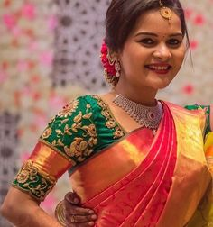 can't wait for our little chat ❤️ our beautiful bride in our signature checks photographe Wedding Saree Blouse Designs, Best Blouse Designs, Pattu Saree Blouse Designs, Wedding Blouses, South Indian Hairstyle, Embroidery Neck Designs, Bridal Silk Saree, Designer Blouse Patterns, Kurta Designs Women
