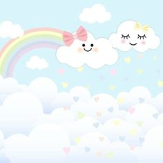 Rain Baby Showers, Baby Boy Shower, Unicorn Birthday, Baby Birthday, Cloud Party, Paper Party Decorations, Baby Posters, Baby Shawer, Rainbow Wallpaper
