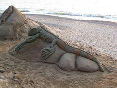 Iguana sand sculpture by the queen of subtle, via Flickr - more info: www.puertovallarta.net