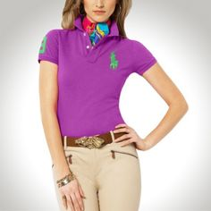Ralph Lauren Women Green Soft Navy Big Pony Polo