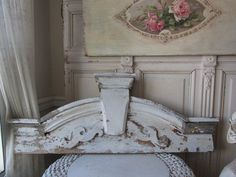 THE BEST Old  Architectural HEADER Arched Ornate CHIPPY WHITE PATINA