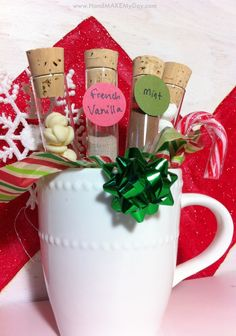 Thrifty Homemade Hot Chocolate Christmas Gift, but there are many other options. (bath salts, tea, etc.)