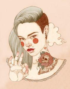 Ilustradora freelancer, Liz Clements trabalha e vive em Londres. Sua obra traz figuras tatuadas que carregam na pele os mais diversos estilos de tatuagem,