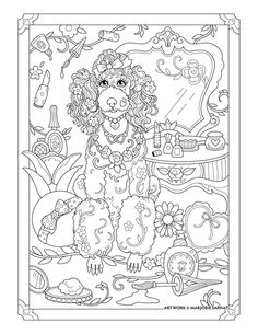 Poodle : Pampered Pets Coloring Book I Marjorie Sarnat Dog Coloring Page, Free Adult Coloring Pages, Cute Coloring Pages, Colouring Pics, Mandala Coloring Pages, Animal Coloring Pages, Coloring Pages To Print, Printable Coloring Pages, Coloring Books
