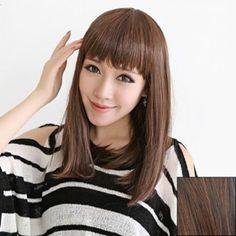 Elegant Neat Bang Medium Straight High Temperatre Fiber Wig For Women, LIGHT BROWN in Synthetic Wigs | DressLily.com